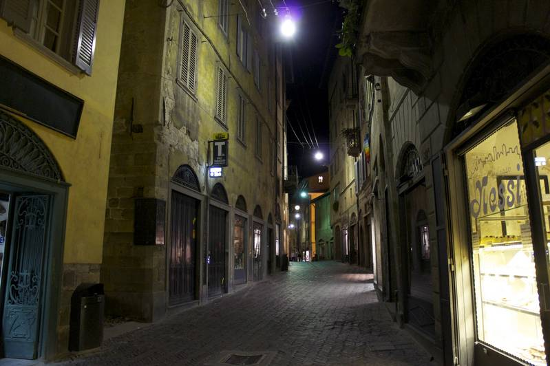 Walking around Bergamo during the night