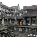 monk inside Angkor wat