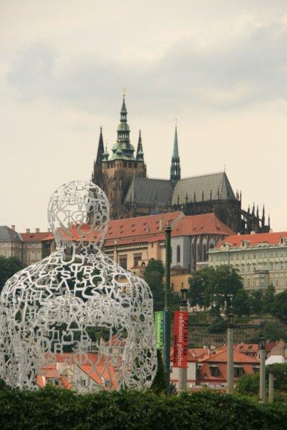 .WE sculpture facing the Prague Castle.