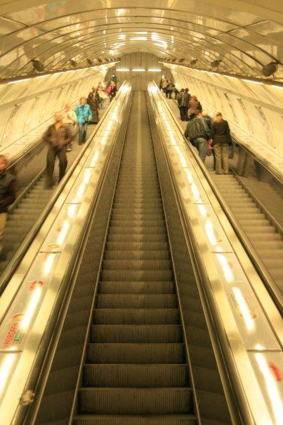 This is one of the longest escalator ride to a subway train. And this is so soviet style.