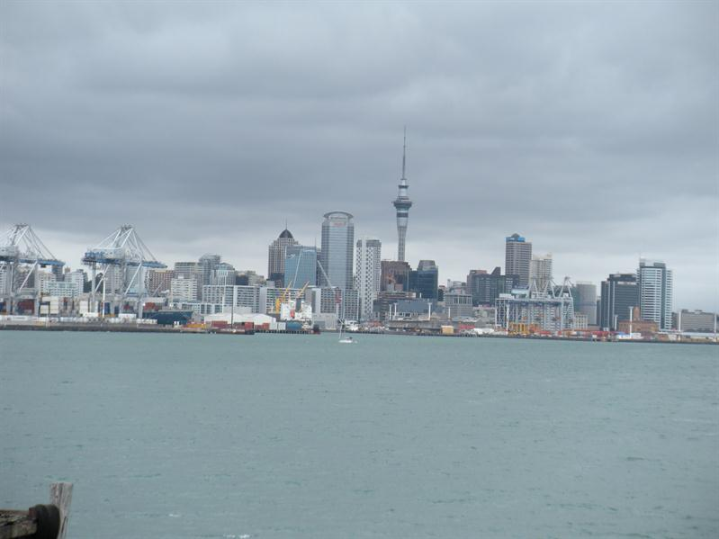 Looking back at Auckland from the ferry