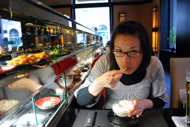We said we'd have sushi once on the trip - and this place had two conveyor belts - one for hot food and one for cold