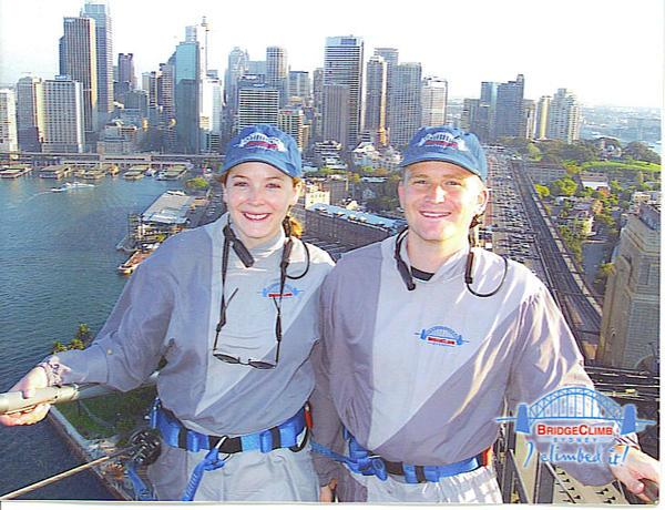 My sister Jennifer and I on top of the Sydney Harbour Bridge