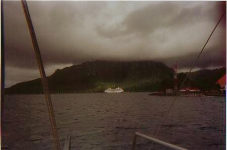 TAHITIAN PRINCESS AT ANCHOR IN MORREA