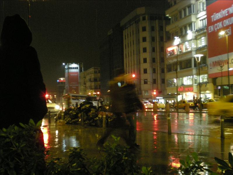 Taksim, it's raining