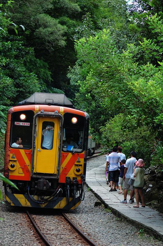 遊人與緩緩而過的火車如此親近