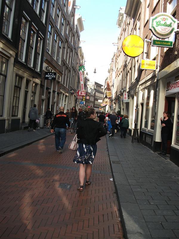 Walking along the bars, pubs, restaurants strip...