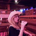 Shauna imbibing the local brew at Billy Bobs