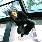 ME (yes, chicken me) on the psycho glass floor in Sky Tower (200 m above ground)