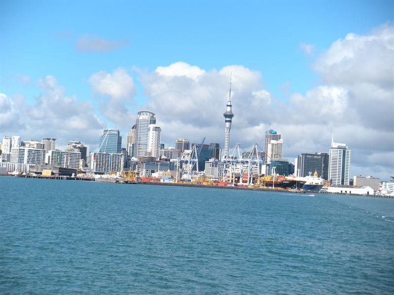 View back to Auckland on the ferry to Davenport