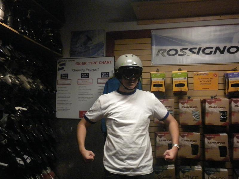 James trying on Ski goggles and helmet