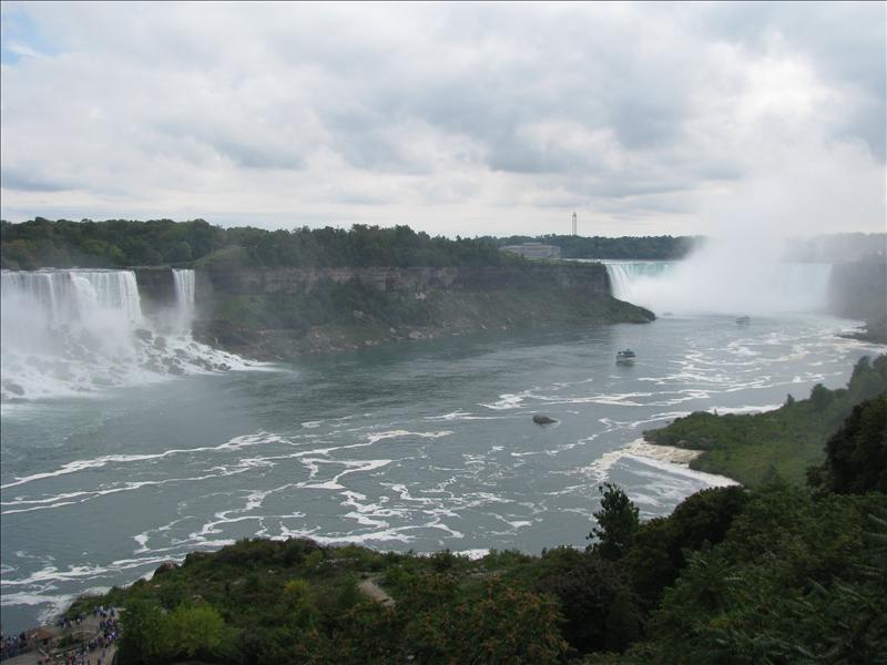 links de amerikaanse falls, rechts de canadese falls