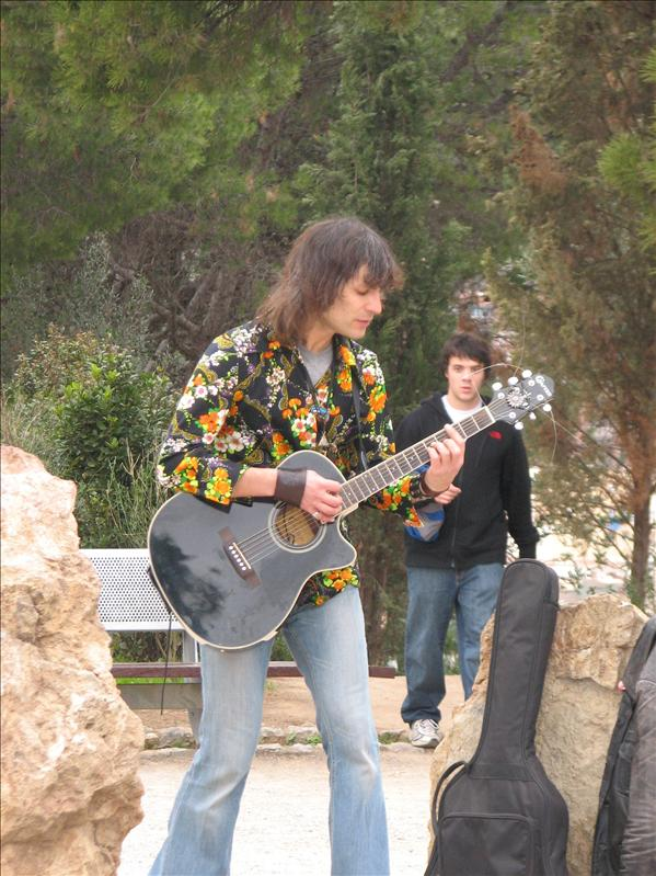 weird hippie dude rocking out