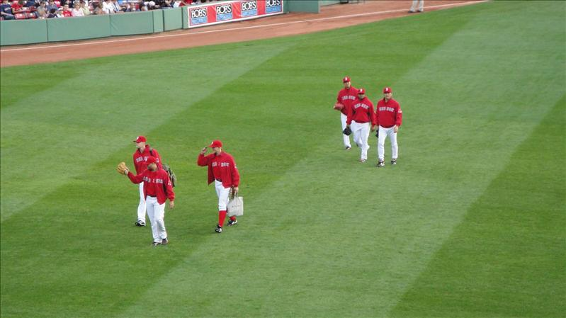 Boston's bullpen (Papelbon is the one saluting)