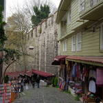 Ottoman-style wooden houses and souvenir stalls
