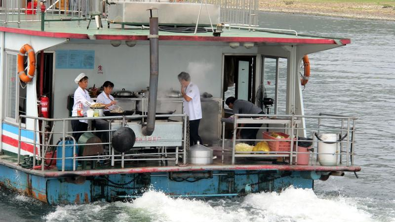 food cooking in the cruising ship