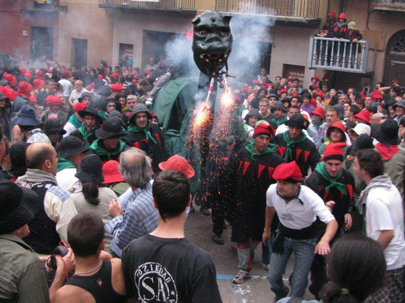 ... the dragons spray fire onto the crowd...
