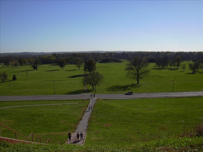 looking down from the primary mound