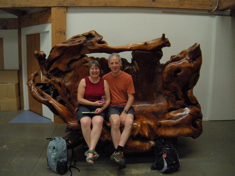 Pete and I (&Andrea's teddy ) on a Kauri Root bench