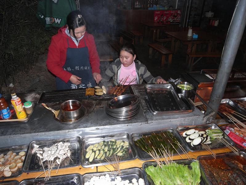 geting some spicy food, wenshu old quarter, chengdu