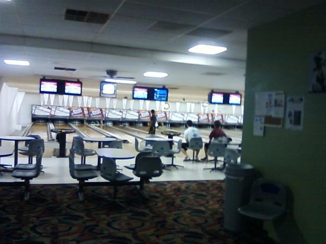 the bowling alley is first class and walking distance from the bar