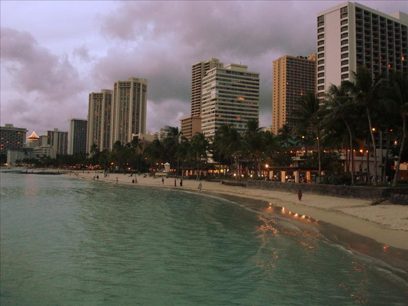 Honolulu - Waikiki Beach and skyline