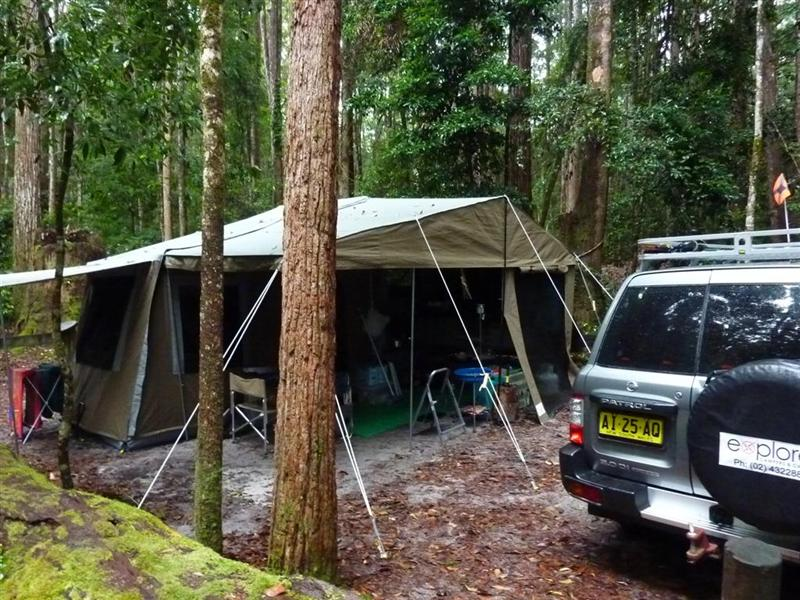 Campsite at Central Station in the rainforest