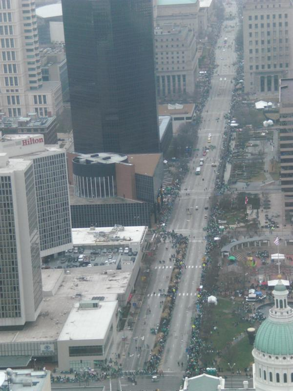 St. Patrick's Day Parade from the arch