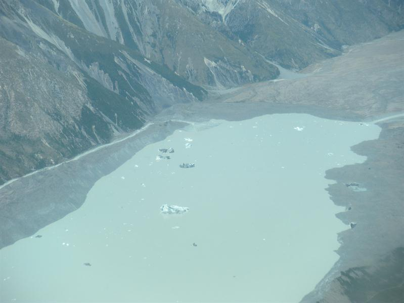The Glacial Lake from above - the icebergs look miniscule