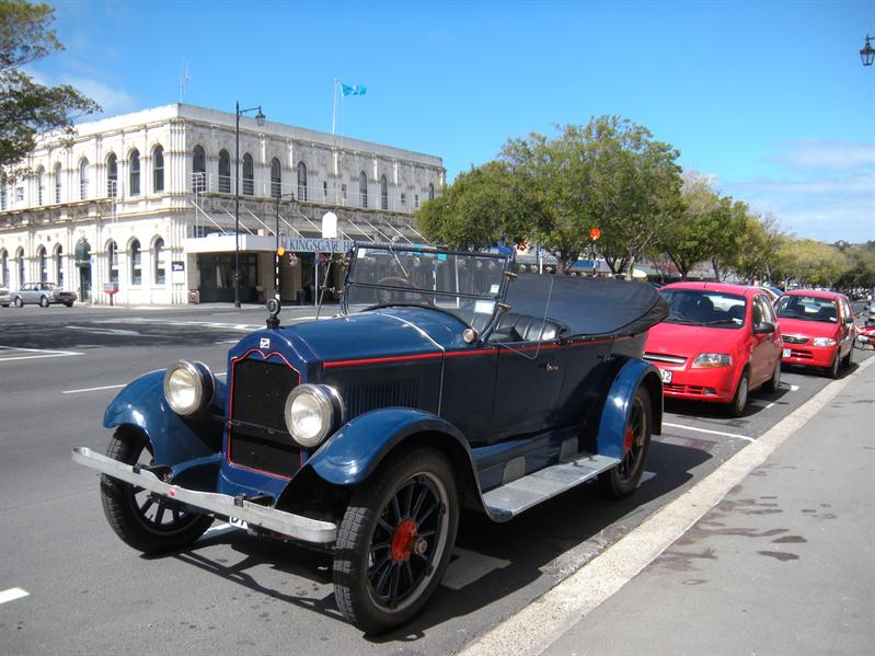 An old car in the high street at Oamaru