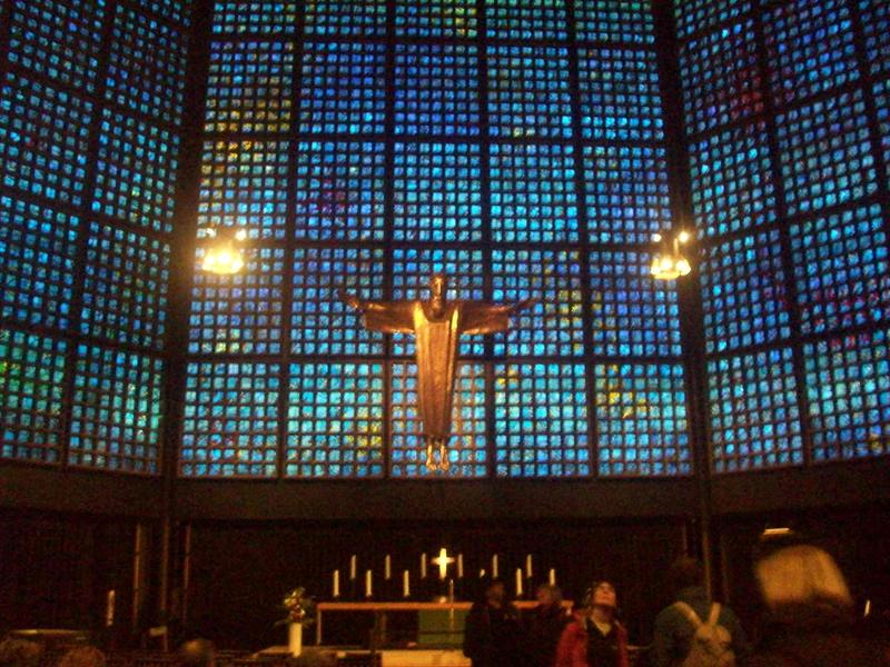 In the chapel, isint it cool, looks like a tv screen!