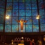 In the chapel, isint it cool, looks like a tv screen!