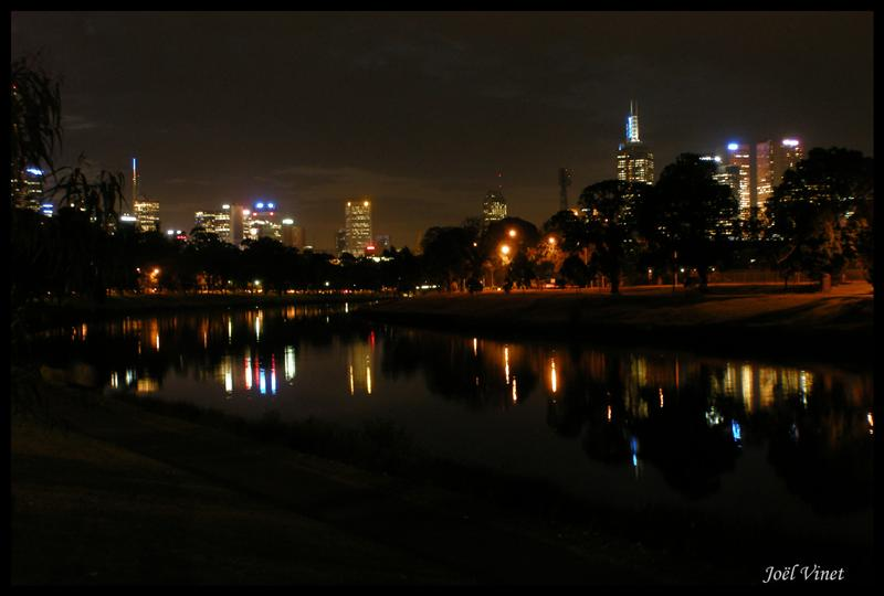 Night view of Melbourne from our dinner table