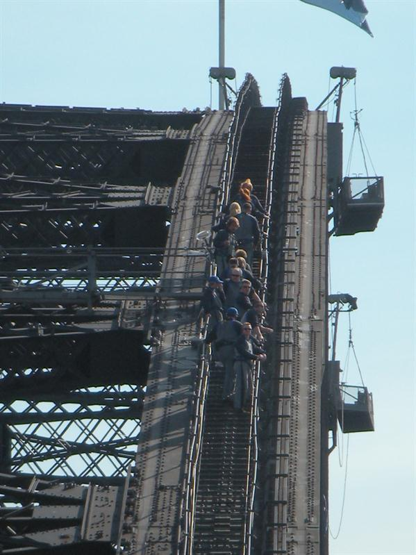 A party of climbers on the bridge