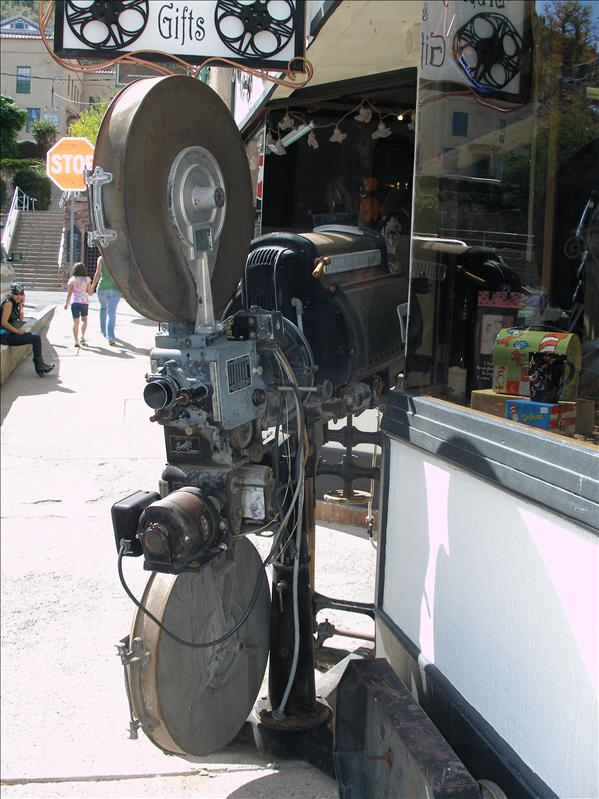 An antique movie projector infront of the old Liberty Theater. Remember the 20 cents movies?