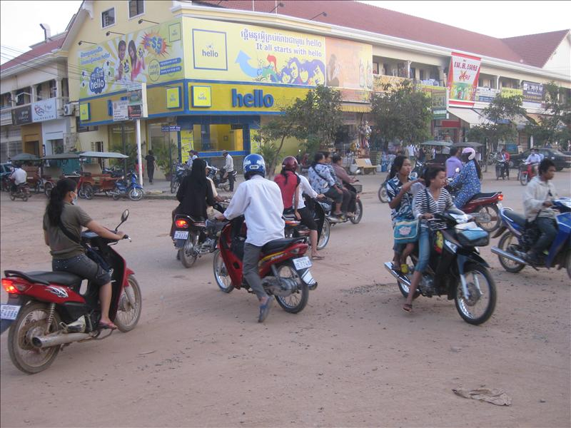 Street scene in Siem Reap where we rode our bicycles!