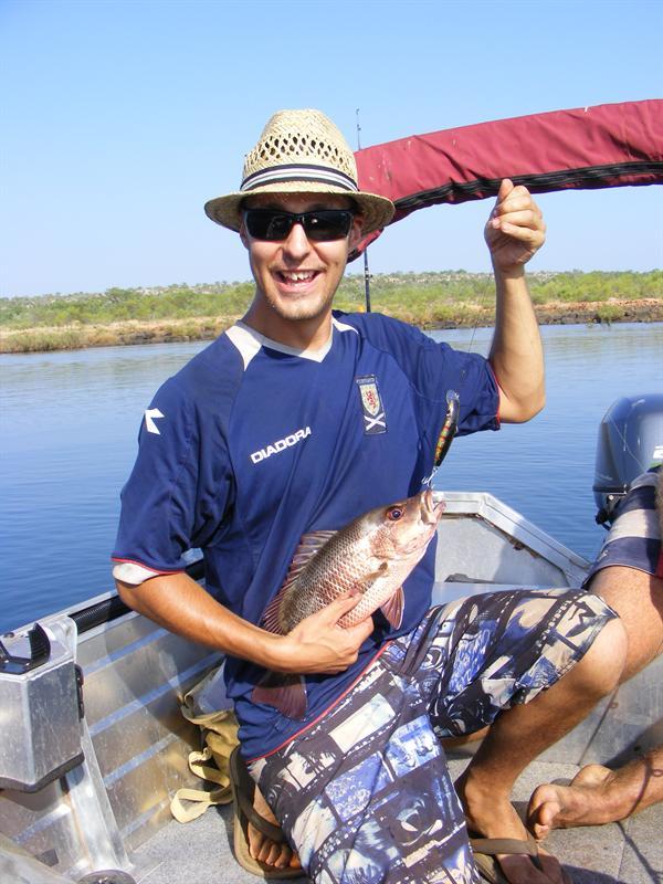 Murray with a Mangrove Jack, Kalumburu
