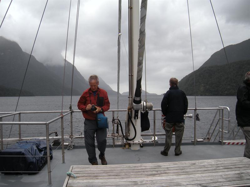 Pete on the boat at Doubtful Sound