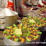 dog liver with vegetables
