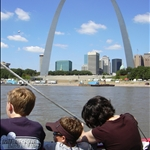 on a ship down the Mighty Mississippi at the Arch