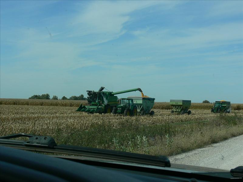Combine loading corn