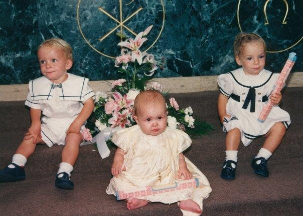 Max, Olivia, and Christina at Christina's Baptism