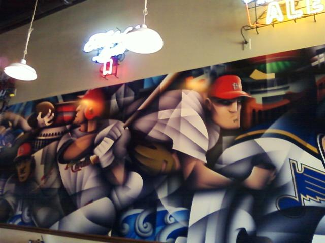 a  mural on the wall at O'Aces