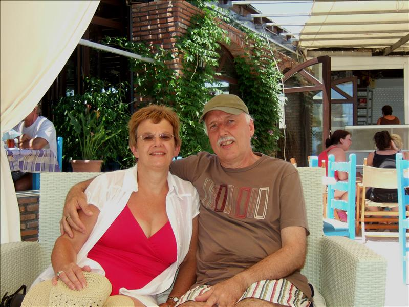 Peter and Andrea at the Sacallis Hotel, Kefalos Bay