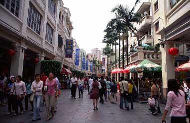 a typical shopping district near my hotel