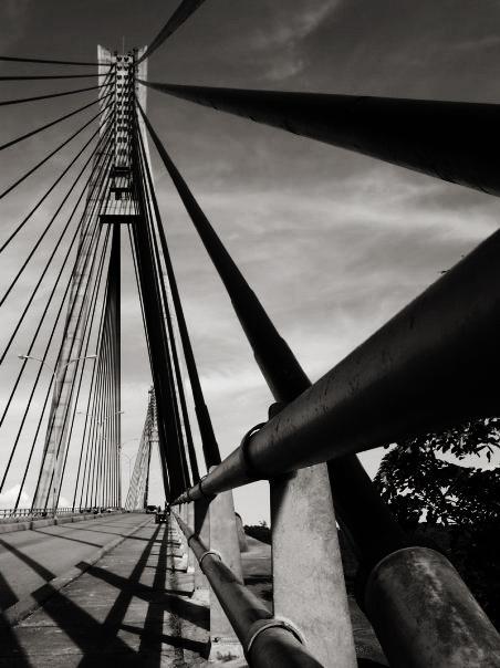 barelang bridge in black-white mode