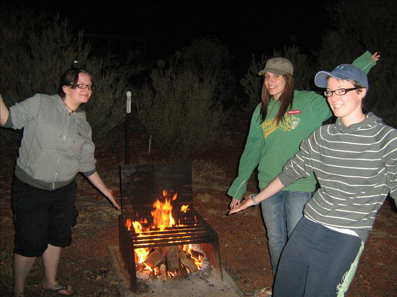Jenni, Ads and Sam proudly displaying our fire