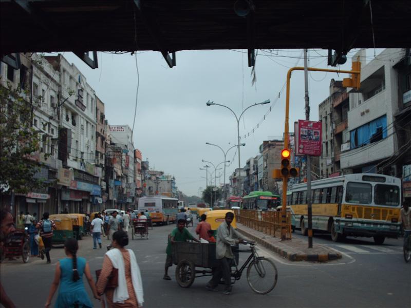 Street in Delhi - from a bicycle rickshaw