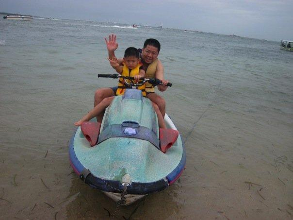 "Me and Bryan liked the jetski better than the ""Great Big Mable"". Mom was back to waiting. :)"