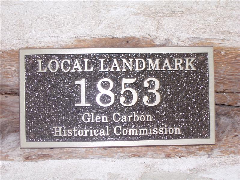Sign on the Log Cabin in Glen Carbon